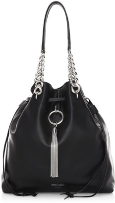 Jimmy Choo Callie Tassel Drawstring Leather Hobo Bag