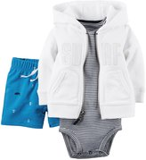 Carter's 3 Piece Cardigan Set (Baby) - White-12 Months