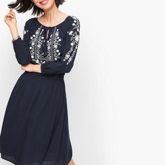 Talbots Embroidered Gauze A-Line Dress