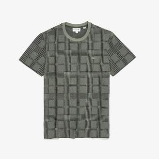 Lacoste Men's Crew Neck Glen Plaid Cotton Jacquard T-shirt