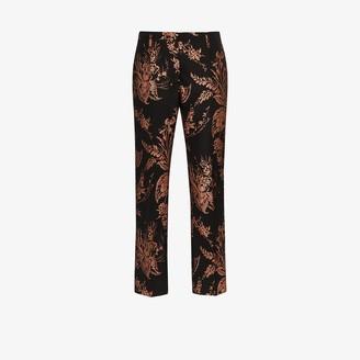 Dries Van Noten Paola floral jacquard slim leg trousers