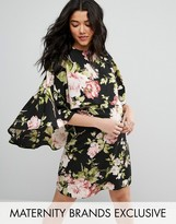 Queen Bee Floral Printed Skater Dress With Cape Detail