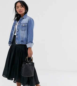 Vila Petite petite satin high low maxi skirt