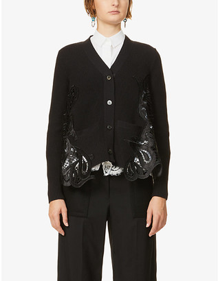 Sacai Contrast-panel cotton-blend knit and lace cardigan