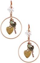 Betsey Johnson Key Charm Hoop Drop Earrings