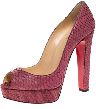 Christian Louboutin Pink Python Leather Lady Peep Toe Platform Pumps Size 41