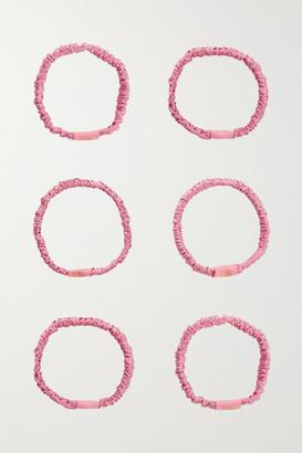 SILKE LONDON Set Of 6 Hair Ties - Pastel pink