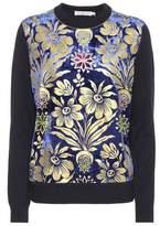 Tory Burch Hollis velvet-trimmed sweater