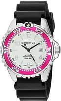 Momentum Women's Quartz Stainless Steel and Rubber Diving Watch, Color:Black (Model: 1M-DN11LM1B)