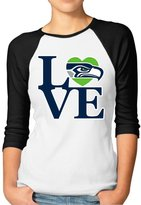 Agongda T-shirts Women's Seattle Seahawks Love 3/4 Sleeve Raglan T-Shirt