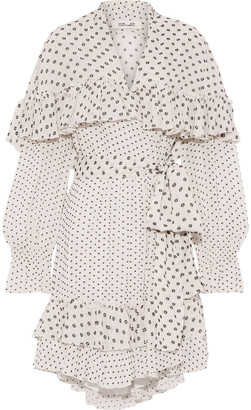 Diane von Furstenberg Martina Ruffled Fil Coupe Crepe Mini Wrap Dress