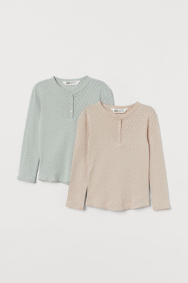 H&M 2-pack Pointelle Tops - Turquoise