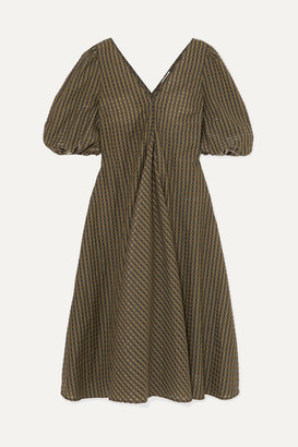 Ganni Metallic Checked Seersucker Midi Dress - Army green
