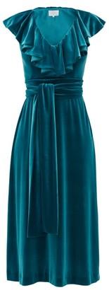 Luisa Beccaria Tie-waist Ruffled Velvet Midi Dress - Dark Green