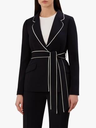 Hobbs Martha Tie Waist Jacket, Navy/Ivory