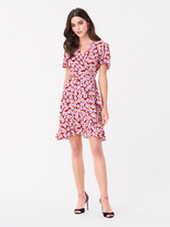 Diane von Furstenberg Estrella Ruffled Crepe Mini Wrap Dress