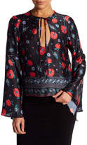 Endless Rose Keyhole Floral Bell Sleeve Top