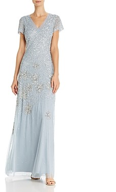 Adrianna Papell Beaded and Sequin Embellished Gown