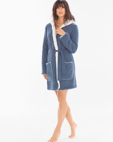 Soma Intimates Cozy Lounge Faux Sherpa Hoody Short Robe Navy Heather