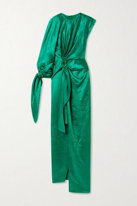Sies Marjan Catherine One-sleeve Draped Crinkled-satin Gown - Emerald