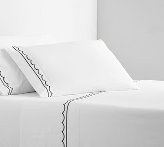 Pottery Barn Scallop Embroidered Organic Percale Sheet Set