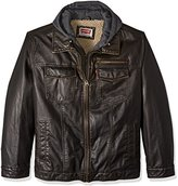 Levi's Men's Big Vintage Deer Faux Leather Hooded Trucker with Full Sherpa Lining