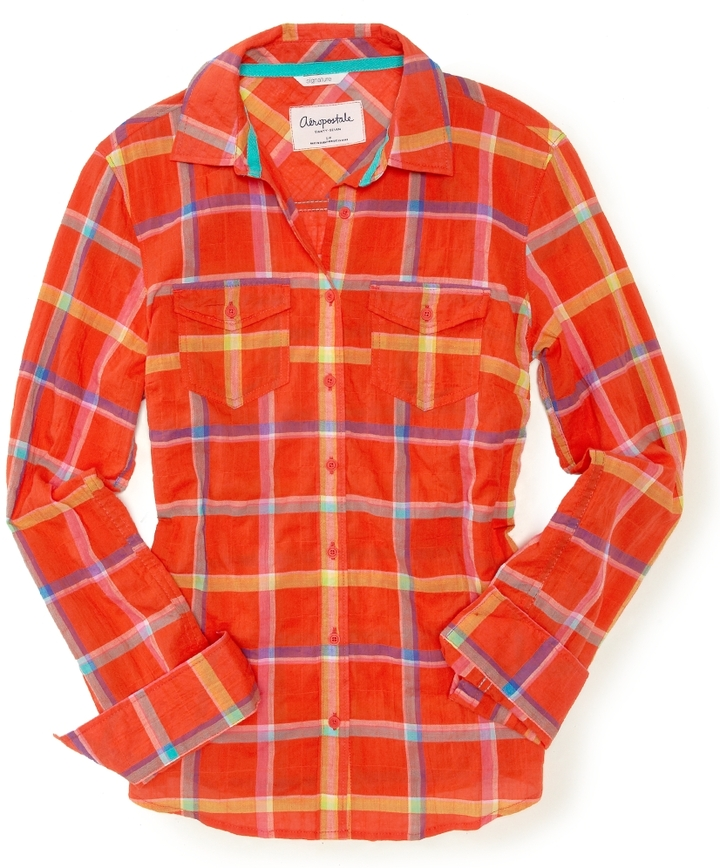 Aeropostale Long Sleeve Adrienne Plaid Woven Shirt