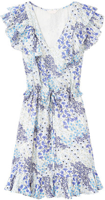 Rebecca Taylor Ava sleeveless v neck silk dress in blue floral print - UK8 | silk | blue - Blue/Blue