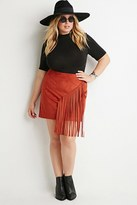 Forever 21 FOREVER 21+ Plus Size Fringed Faux Suede Skirt