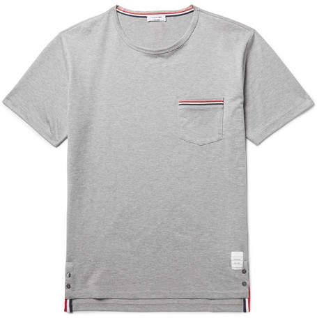 Thom Browne Slim-Fit Grosgrain-Trimmed Cotton-Jersey T-Shirt