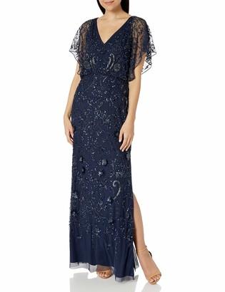 Aidan Mattox Aidan Women's 3/4 Flutter Sleeve Beaded Gown