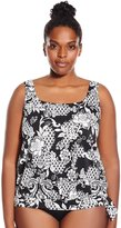Penbrooke Women's Plus-Size Intermingle Tie Side Blouson Tankini