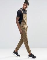 Asos Overalls In Bow Leg In Khaki
