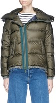 Sacai Faux fur trim quilted down jacket