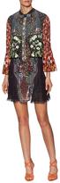 Mary Katrantzou Silk Bow Neck Embroidered Shift Dress