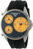 Torgoen Swiss Men's T08302 Triple Time Zone Yellow Polyurethane Strap Watch