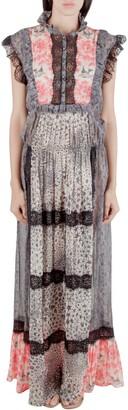 Amen Multicolor Silk and Lace Trim Multiprint Maxi Dress M