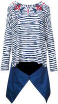 Antonio Marras skirt applique striped sweatshirt - women - Cotton/Polyester/Viscose - 42