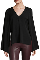 Nicole Miller Summer Solids Bell-Sleeve Top