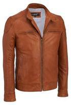 Black Rivet Mens Leather Moto Jacket W/ Shoulder Patches