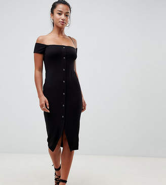 Asos DESIGN Petite off shoulder popper front midi dress in rib