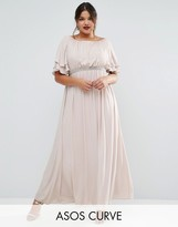 Asos Flutter Sleeve Maxi Dress With Embellished Waist Trim