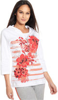 Style&Co. Sport Top, Three-Quarter-Sleeve Floral-Print Hoodie