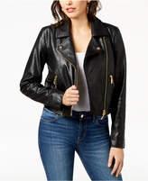 GUESS Jaden Embellished Faux-Leather Moto Jacket