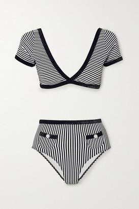 Leslie Amon Marylou Embellished Striped Seersucker Bikini - Black