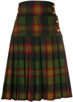 Saint Laurent Pre-Owned pleated tartan skirt