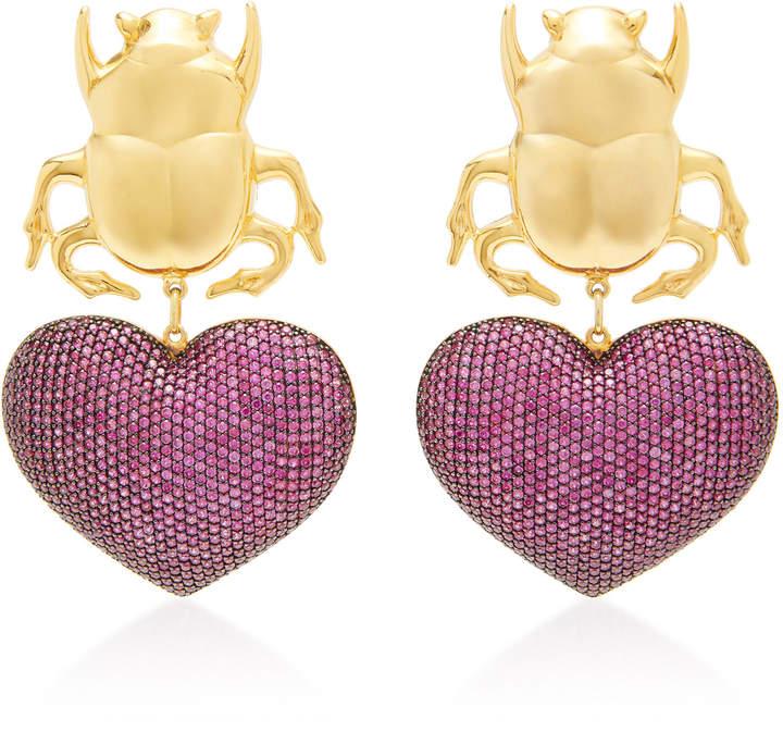 61f9ca34e37a9 Begum Khan Beetle My Love 24K Gold-Plated Crystal Earrings