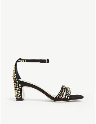 Sandro Jaden crystal-embellished suede heeled sandals