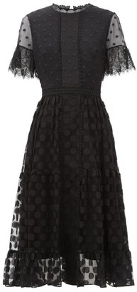 Saloni Andie Lace-trimmed Polka-dot Tulle Dress - Black