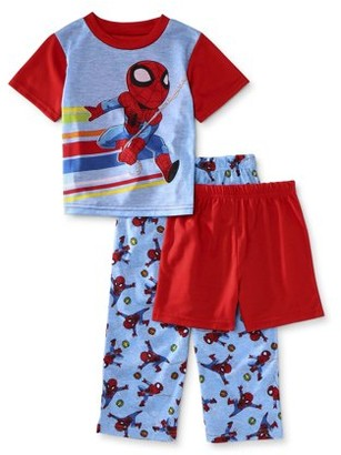 Marvel Super Hero Avengers Spider-Man Toddler Boys Loose Fit Short Sleeve Pajamas, 3pc Set (2T-4T)